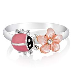 925 Sterling Silver Pink Little Lucky Ladybug with CZ Mother of Pearl Flower Band Ring - Nickel Free ** Sincerely hope that you actually enjoy our picture. (This is our affiliate link) Flower Band, Pearl Flower, Band Rings, Ladybug, Cuff Bracelets, Pearls, Sterling Silver, Link, Free