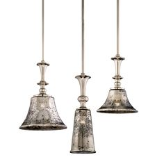 Argento pendants - antique silver glass in a distressed polished nickel finish