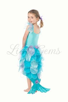 Mermaid Allana Piece) Lycra bodice one piece mermaid with organza leaf skirt & tail and shell detail. Mermaid Dress For Kids, Mermaid Costume Kids, Unicorn Party Costume, Sea Costume, Mermaid Halloween Costumes, Fish Costume, Ariel Costumes, Carnival Costumes, Leaf Skirt
