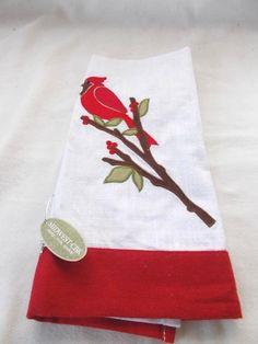 "New Midwest CBK Cardinal Bird Tea Kitchen Dish Towel 23"" x 15"" Red White #MidwestCBK"