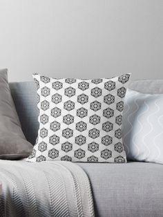Black and white fleurons #pattern by Silvia Ganora #blackandwhite #monochrome #design #homedecor #decor #floral #fleurons #pillows #thowpillows