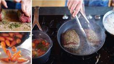 Gebratenes Rinderfilet, junge Möhren & Mini-Yorkshire-Puddings - Jamie Oliver - sixx Jamie Oliver, Puddings, Yorkshire, Food, Roasted Fingerling Potatoes, Meat, Olive Recipes, Potato Mashers, Cress