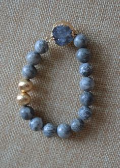 Glass Beaded Bracelet with Gold Accents With Druzy Stone Stack with other…