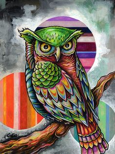 """Owl with Orbs ~ Bryan Collins ~ 6""""x9"""" colored pencil and acrylic on wood ~ http://www.useeverycolor.com #owl #art #prismacolor #Bryan #Collins #useeverycolor"""