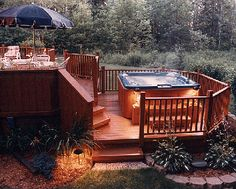 deck with hottub
