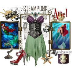 Steampunk: Ariel by ghsdrummajor on Polyvore featuring Metropolis, Cameo, Buccellati, AllSaints and Perry Gargano