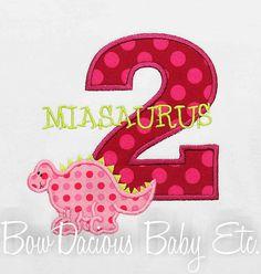 Girls Dinosaur Birthday Shirt Number Monogrammed by bowdaciousbaby