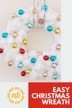 Need a Cute new wreath for the Christmas. Make this easy, low cost, and bright wreath you are sure to love. #Christmas #Wreath #DIY #Homemade #Craft #Easy Christmas Wreaths, Christmas Decorations, Cute Diys, Cool Diy Projects, You Are Awesome, Christmas Inspiration, Ornament Wreath, Diy Tutorial, Diy Ideas