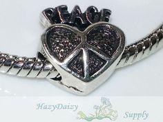 Peace Heart European Beads  Sku230 by HazyDaizySupply on Etsy, $4.00