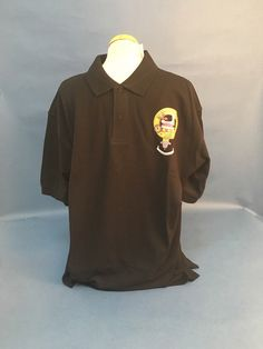 Cotton polo shirt with printed MacDougall clan crest. Clearance item. only one available at this price - half the normal selling price
