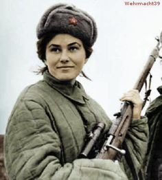 Lyudmila Pavlichenko, Soviet sniper during WWII.  A student at the time, Pavlichenko was among the first to volunteer for the armed forced when the Soviet Union was invaded and declined the opportunity to serve as a nurse instead of a soldier so as to put her shooting talents to good use.  She went on to record 309 kills, making her the most successful female sniper in history.  After she was wounded in battle, Pavlichenko traveled to the United States.
