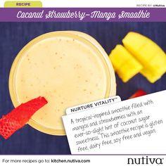 Coconut Strawberry-Mango Smoothie 7 Days of Smoothies Challenge with Nutiva kitchen.nutiva.com