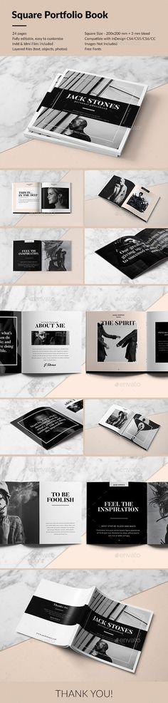 Square Portfolio Book Portfolio Brochure Template by RoyalBlackStudio. Portfolio Design, Book Portfolio, Mise En Page Portfolio, Portfolio Booklet, Design Brochure, Booklet Design, Branding Design, Brochure Layout, Brochure Template