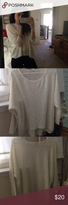 white LA Hearts (PacSun) sweater i've had this for a few years but i've only worn it once or twice, its a creamy white color with 3/4 sleeves that are meant to be bunched up to about below the elbow. material is kind of see through but if you wore a nude bra you'd be fine. its a medium but im an XS and it fits perfectly fine  LA Hearts Sweaters Crew & Scoop Necks