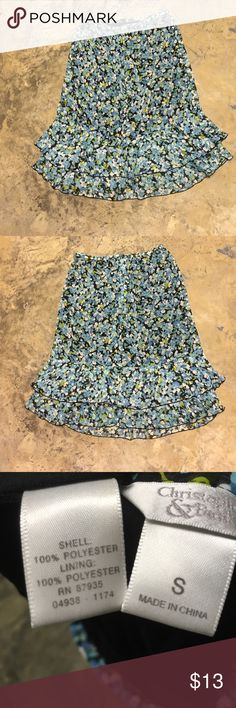 "Floral Blue skirt Sz S Waist 26-30."" Waist to hem 26."" Layered. Excellent condition. Country blue, mint green, black, white. Side zipper. Lightweight. Christopher & Banks Skirts Midi"