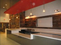 """Wood feature wall and more.  Possibly wood """"stripe"""" with tv?"""