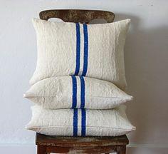 Linen grain sack pillow by Jill Bent (found via Chelsea of {frolic!})