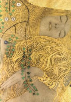 Love the gold lines in her hair. Close up from Water Serpents painting by Gustav Klimt (Austrian Symbolist; Gustav Klimt, Klimt Art, Jackson Pollock, Oeuvre D'art, Love Art, Painting & Drawing, Hair Painting, Art History, Art Nouveau