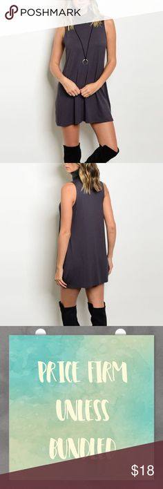 """Turtleneck Jersey knit Dress Sleeveless Jersey turtle neck Dress. Fits true to size. Length 30"""". Can be worn as a Top also. Made of polyester/ spandex blend. Price firm unless bundled. Bundle 3+ and save 15% Dresses"""