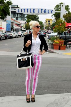 Pink candy stripe jeans and monochrome