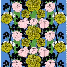 Marimekko Unelma fabric, light blue-green-pink