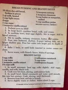 Bread pudding and brandy sauce Pudding Desserts, Pudding Recipes, Cake Mix Recipes, Sweets Recipes, Brandy Cream Sauce, Bread Pudding Sauce, Scotland Food, Louisiana Recipes, Bread Machine Recipes