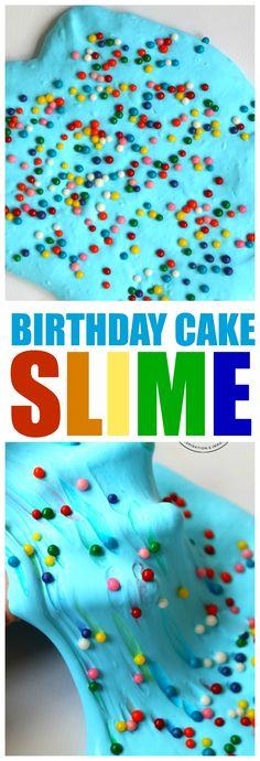 Birthday Cake Slime: Use Sprinkles to create rainbows in your slime