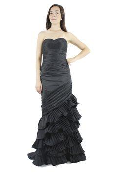 Vestido en tafetta negro strapless, Sel de Dalia Macphee