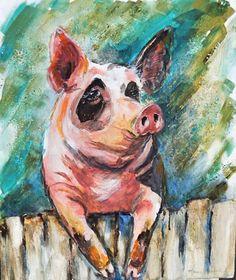 Original Acrylic Piggy Painting by Maure Bausch