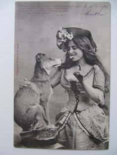Antique French photo postcard vintage dog by PinkBirdhouseVintage, $5.75