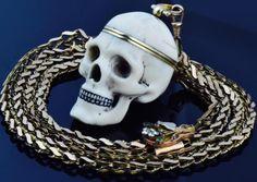 WOW-35000-Memento-Mori-Skull-Verge-Fusee-watch-amp-gild-chain-seal-fob-c1810