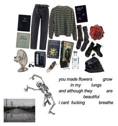 """""""grunge to the bone"""" by heshe ❤ liked on Polyvore featuring art"""