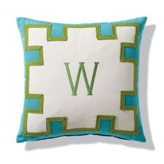 Geometric  turquoise and geen W Pillow