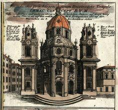 J.B. Homann print of Salzburg, Kollegienkirche - circa 1712 Innsbruck, Salzburg, Architecture Drawings, Architecture Design, Austrian Empire, European Countries, 16th Century, Baroque, Taj Mahal