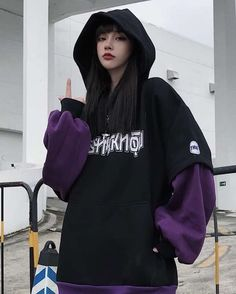 Letter Print Fake Two-Piece Inner Fleece Hoodie Edgy Outfits, Cute Casual Outfits, Korean Outfits, Retro Outfits, Grunge Outfits, Fashion Outfits, Punk Fashion, Lolita Fashion, Pastel Goth Outfits