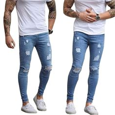 Men's Stretch Ripped Skinny Jeans Ripped Skinny Jeans, Stretch Denim, Denim Jeans, Stretches, Clothes, Fashion, Outfits, Moda, Clothing