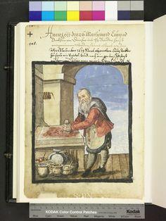1611 painter mixes pigments. Pain pots, paint brushes  Die Hausbücher der Nürnberger Zwölfbrüderstiftungen