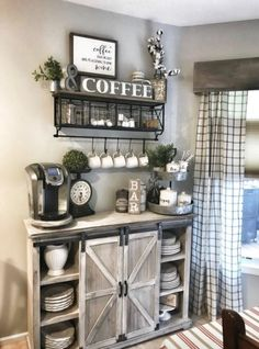 Home Remodeling Living Room 45 Best Farmhouse Living Room Makeover Decor Ideas Coffee Bar Home, Home Coffee Stations, Coffee Bar Ideas, Coffee Corner, Coffee Nook, Coffee Bar Design, Coffee House Decor, Wine And Coffee Bar, Coffee Maker