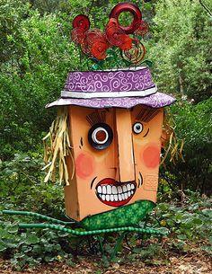 Sculpture by Patrick Amiot and Brigitte Laurent: Gardener Lady. Sculpture Art, Sculptures, Junk Art, Sonoma County, Backyard Ideas, Garden Art, Metal Art, Mosaic, Mixed Media