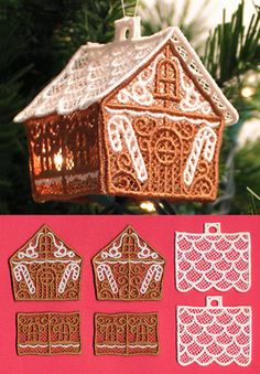 Hang this lacy gingerbread house on the tree, or set it on a table with an electric tea light inside! Stitch each piece onto water-soluble stabilizer, rinse to leave only the lace, and assemble.
