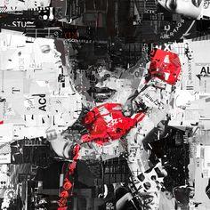 Derek Gores молодой американский художник, дизайнер, мастер современного коллажа. Для создания своих потрясающих коллажей Горес использует журналы, этикетки, рекламную типографическую продукцию, которые умело размещает на холсте. Коллажи мастера – это интересные работы, в которых переплетаются красота фигуры, угловатая абстракция, приправленная модной дизайнерской эстетикой и смелостью игры  (1600×1600)