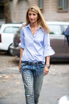 Milan #StreetStyle - studded jeans