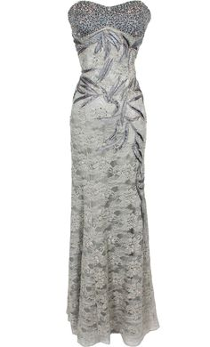 Metallic Beaded Lace Overlay Formal Dress      Mother of Bride