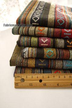 Colorful Stripe Cotton Fabric Knit Fabric BOHO Bohemian Style Bag Chair Cushion Fabric- Fabric by Yard 1/2 Yard. $6.80, via Etsy.