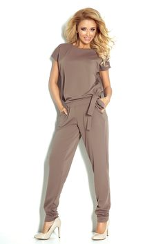 Short Sleeve Mocca Jumpsuit with Pockets and Waist Tie Latest Fashion Trends, Fashion News, Trendy Fashion, Half Sleeves, Short Sleeves, Beige Shorts, Beige Dresses, Budget Fashion, Mocca