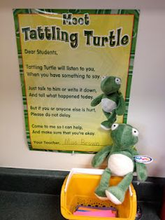Tattle Turtle: this is a cute idea to try and one get rid of the unnecessary tattle tailing that can take up lesson time, but since the students won't read them just Tattling Turtle then the teacher will know if a student feels they are being bullied. Anything that can be a source for kids to talk about their problems is always could and this can help stop behavior issues.