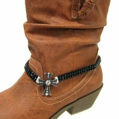 "Fashion Jewelry ~ Black Boot Charm with Rhinestone Gem Strap and Crystal Accented Cross Charm Anklet (Style Boot Charm 045a 24) Variety Gift Shop Fashion Jewelry. $10.95. ** BOOT NOT INCLUDED **. Size: Total length: 16"" L     Charm: 1.5"" L x 1.25"" W     Color: Black, Silver     Style: Boot charm with rhinestone gem strap and crystal accented cross charm.. 1 pc"