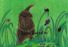 Black Bunny Loves the Lady Bug Fine Art Print by mariesimagination