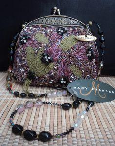 Mary Frances Multi-Color Evening Bag  #MaryFrances #EveningBag Cute Handbags, Beautiful Handbags, Purses And Handbags, Mary Frances Purses, Mary Frances Handbags, All Things Purple, Vintage Bags, Green And Purple, Evening Bags