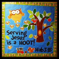 Fall bulletin board special needs ministry owl
